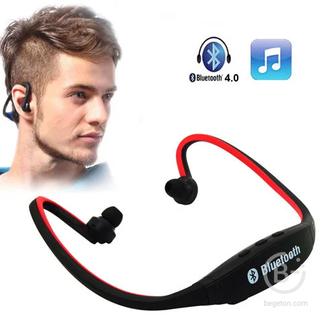 Спортивная стерео Bluetooth-гарнитура BS-19C с MP3-плеером и FM-радио (красный)