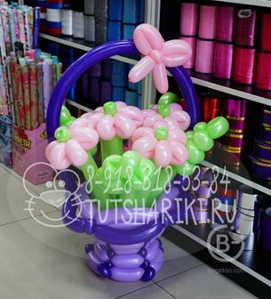 Корзина с ромашками (фиолетовая)