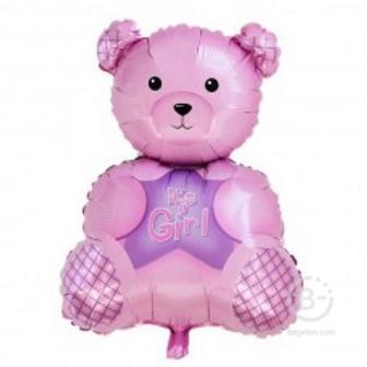 Шар (32''/81 см) Фигура, Медвежонок это девочка, Розовый, 1 шт.