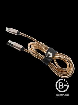 Дата кабель mObility (металлическая обмотка) USB   8   pin для Apple, золотой