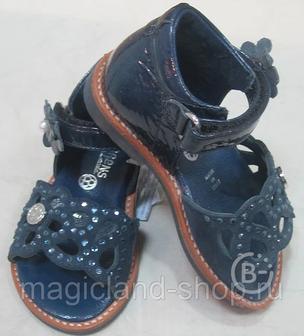 Босоножки Детские (размер 20 (12,5 см)) УЗОР, арт. Е2670 синяя лаковая кожа (Италия)