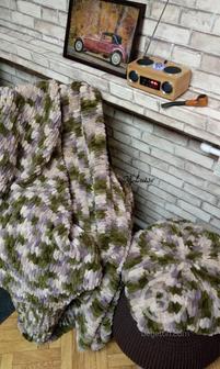 Набор Звезда: плед + подушка, хаки