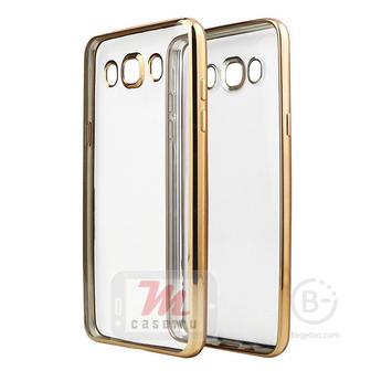 Чехол накладка силиконовый с цветным бампером для Samsung Galaxy J5   J510F (2016) (золотой)