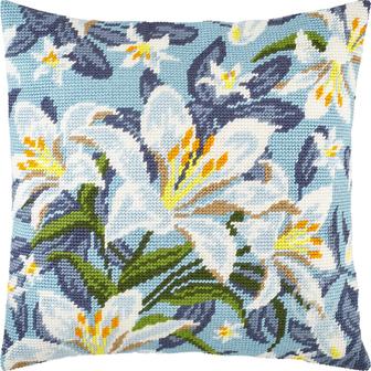 Набор для вышивки подушки Белые лилии