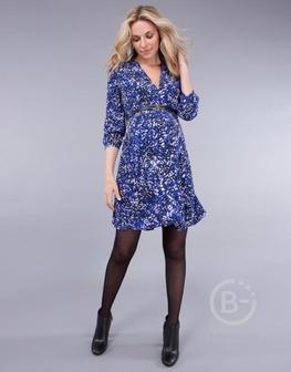 Платье для беременных синее с ярким принтом с длиной рукава 3/4