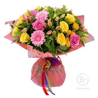 Букет из роз, альстромерий, гербер Мелодия любви