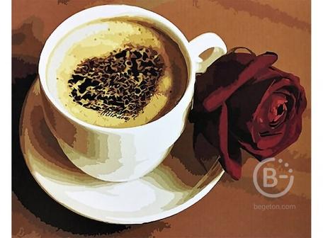 PAINTBOY ORIGINAL Рисование по номерам Капучино с бордовой розой 40*50см
