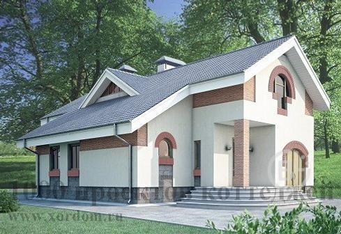 Двухэтажный кирпичный дом в стиле модерн с гаражом.