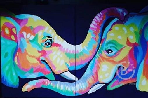 """Картина """"Радужные слоны"""""""