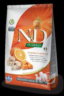 Корм для собак N&D Pumpkin беззерновой корм для взрослых собак средник и крупных пород, треска, апельсин и тыква (2,5 кг)