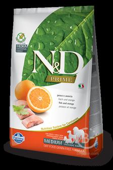 Корм для собак N&D Prime беззерновой корм для взрослых собак средних и крупных пород, рыба и апельсин (2,5 кг)
