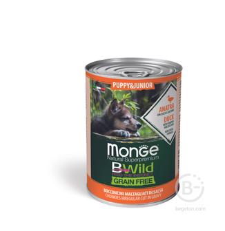 Консервы для собак Dog BWild Grain Free влажный корм для щенков всех пород, беззерновой, кусочки в соусе, утка, тыква и кабачок (400 гр)