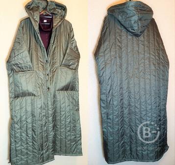 Пальто-плащ стеганое деми длинное, свободный р-р