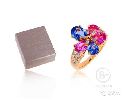 Золотое кольцо с сапфирами 4.33ct Bvlgari/Булгари