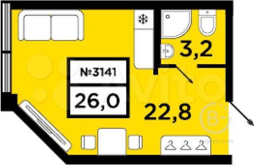 Квартира-студия, 26 м², 19/20 эт.