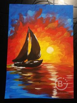 "Картина ""Яхта и закат"""