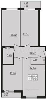 3-к квартира, 107.8 м², 8/10 эт.