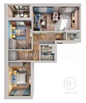 3-к квартира, 81.5 м², 10/17 эт.