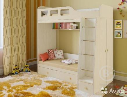 Детская двухярусная кровать со шкафом Астра 3.