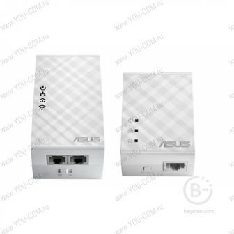 Powerline адаптер ASUS PL-N12 HomePlug, AV500, со встроенным модулем Wi- Fi  ( Адаптер сети через розетку, до 300Mbps Wi-Fi Powerline Extender, 802.11n, LAN ; 90IG01V0-BO2100 )