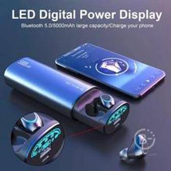 Мини-наушники-вкладыши с Bluetooth и внешним аккумулятором на 5000 мАч для мобильного телефона