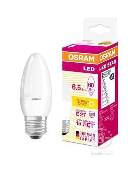 Лампа светодиодная LED STAR CLASSIC B 60 6.5W/830 6.5Вт свеча 3000К тепл. бел. E27 550лм 220-240В матов. пласт. OSRAM 4058075134232