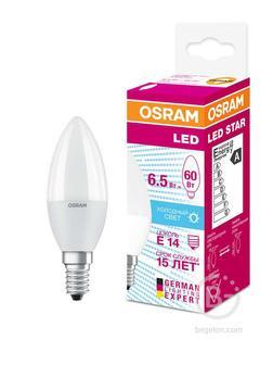 Лампа светодиодная LED STAR CLASSIC B 60 6.5W/840 6.5Вт свеча 4000К нейтр. бел. E14 550лм 220-240В матов. пласт. OSRAM 4058075134140