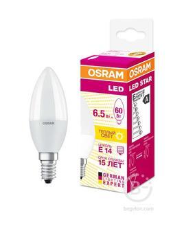 Лампа светодиодная LED STAR CLASSIC B 60 6.5W/830 6.5Вт свеча 3000К тепл. бел. E14 550лм 220-240В матов. пласт. OSRAM 4058075134171
