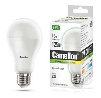 Лампа светодиодная LED15-A65/830/E27 15Вт грушевидная 3000К тепл. бел. E27 1280лм 170-265В Camelion 12196 / 12185