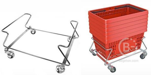 Подставка под покупательские корзины на колесиках