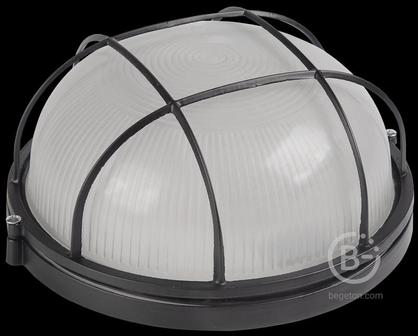 Светильник НПП 1302 60Вт E27 IP54 черн. круг с решеткой ИЭК LNPP0-1302-1-060-K02