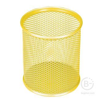 Подставка-органайзер BRAUBERG «Germanium», металлическая, круглое основание,100×89 мм, желтая, 231980
