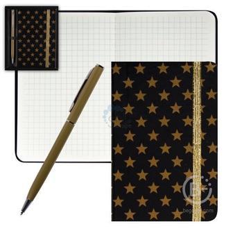 Набор подарочный 2пр Книжка зап В7 (90*140) +ручка шар Черный с золот звезд deVENTE