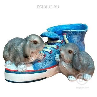 Кашпо декоративное Кед с зайцами 14см 81-6503