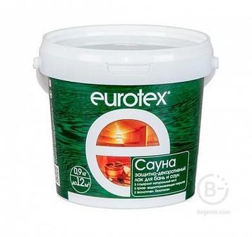 Лак для стен, потолков и полов в банях и саунах Eurotex Сауна бесцветный 0,9 кг