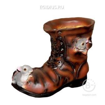 Кашпо декоративное Ботинок с мышками, L22 W13 H18 см 81-6014