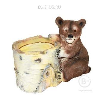 Кашпо декоративное Березовый пень с медведем, L12 W19 H16 см 81-6034