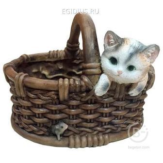 Кашпо декоративное Котёнок в лукошке с мышкой L26W22,5H19 см 81-6335