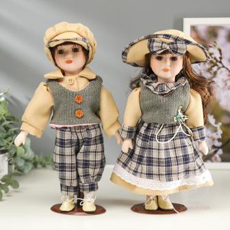 """Кукла коллекционная парочка набор 2 шт """"Люда и Артём в жилетках"""" 30 см   804-731"""