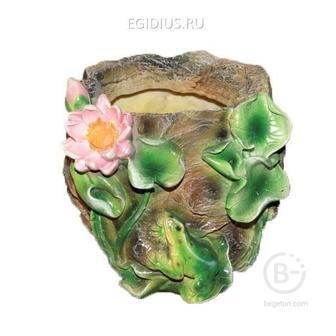 Кашпо декоративное Камень с лягушкой и лотосом, L21 W21 H18 см 81-6028