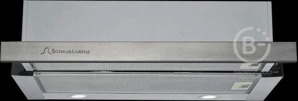 Встраиваемые вытяжки Schaub Lorenz - Встраиваемая вытяжка, Ширина 60 см, (1 двигатель), Отвод/рециркуляция, 680 м3/час, Механическое управление, 3 скорости, Галогеновое освещение, Два металлических жироулавливающих фильтра, Уровень шума: 44 дБ, Цвет: нерж