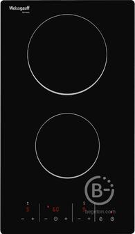 Домино Weissgauff - Домино,   электрическая, 30 см, стеклокерамика Vitro Ceramic Glass, 2 конфорки, сенсорное управление, индикация степени нагрева, таймер, звуковой сигнал, блокировка от детей, черная