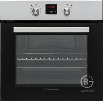 Встраиваемые электрические духовки Schaub Lorenz - 59.5х59.5x61 см, 58л, 3 режимов работы, механические переключатели, цифровой программатор, черный/нерж. сталь/ручки цвета нержавеющая сталь