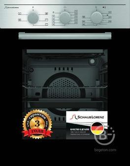 Встраиваемые электрические духовки Schaub Lorenz - 59.5х45x61 см, 45л, 6 режимов работы, механические переключатели, механический таймер 90мин, панель управления-нержавеющая сталь, черное стекло дверцы духовки