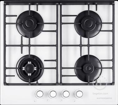 Газовая варочная поверхность Kuppersberg - Газ, Газовая варочная поверхность, закаленное стекло, ширина 60 см, 4 газовые конфорки, WOK конфорка(2,5 кВт), автоподжиг, газ-контроль, чугунные решетки, цвет белый