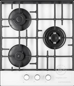 Газовая варочная поверхность Kuppersberg - Газ,  Газовая варочная поверхность, закаленное стекло, ширина 45 см, 3 газовые конфорки, WOK конфорка повышенной мощности, автоподжиг, газ-контроль, чугунные решетки, цвет белый  / кромка FACET