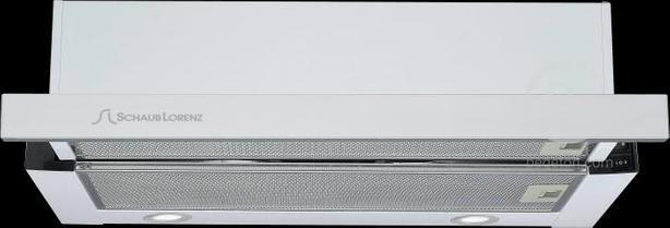 Встраиваемые вытяжки Schaub Lorenz - Встраиваемая вытяжка, Ширина 60 см, (1 двигатель), Отвод/рециркуляция, 680 м3/час, Механическое управление, 3 скорости, Галогеновое освещение, Два металлических жироулавливающих фильтра, Уровень шума: 44 дБ, Цвет: белы