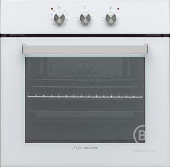Встраиваемые электрические духовки Schaub Lorenz - 59.5х59.5x61 см, 58л, 9 режимов работы, механические переключатели, механический таймер, белая эмаль/ручки цвета нержавеющая сталь