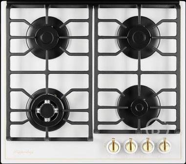 Газовая варочная поверхность Kuppersberg - Газовая варочная поверхность, закаленное стекло, ширина 60 см, 4 газовые конфорки, автоподжиг, газ-контроль, чугунные решетки, цвет белый /поворотные переключатели цвета бронзы