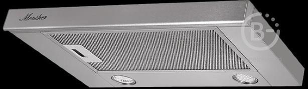 Вытяжка MONSHER - Встраиваемая вытяжка с выдвижной кареткой, ширина 60 см, отвод/рециркуляция, 480 м3/час, механическое управление, 2 скорости, светодиодное освещение 2х3 Вт, металлические жироулавливающие фильтры, угольный фильтр (опция), 49,5 дБ, цвет н